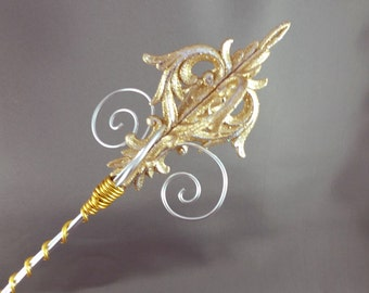 Gold Damask Sceptre - Princess Wand Princess Scepter Golden Wand Golden Scepter Ready to Ship