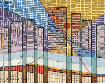 Detroit Print: archival giclee reproduction of original city map art