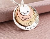 4 Layer Personalized Hand Stamped Children's or Grandchildren's Necklace- Mom Jewelry, Mommy, Mother, Grandmother, Grandma