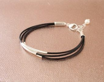Black Greek Leather Bracelet with Sterling Silver Floating Tubes