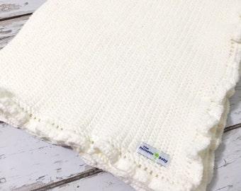 Baby Blanket White Crocheted/Baby Shower Gift/Heirloom Gift For Baby