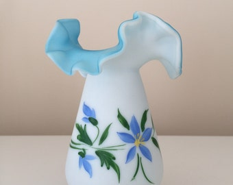 Kanawha Satin Milk Glass Over Blue with Hand Painted Floral Decor
