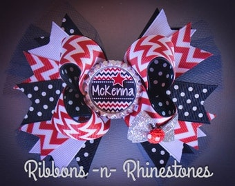 Personalized 4th of July Hair Bow, 4th of July Boutique Hair Bow, Red White and Blue Hair Bow, July 4th Bow, Independence Day Bow