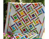 Layer Cake Quilt Pattern -  Double Strip Trip Quilt Pattern - Sizes Crib to King - Confident Beginner - PDF INSTANT DOWNLOAD