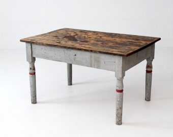 antique primitive table, painted wood low height table