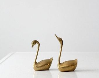 SALE mid century brass swans pair