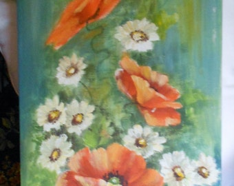 BOHA  vintage  painting of daisys and poppys on 12 x 24'' canvas panel
