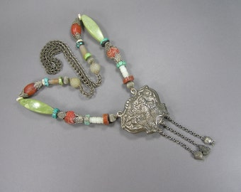 Chinese Lock Necklace, Statement Necklace, Filigree, Coral Beads, Agates, Vintage Jewelry, Asian, Dragon