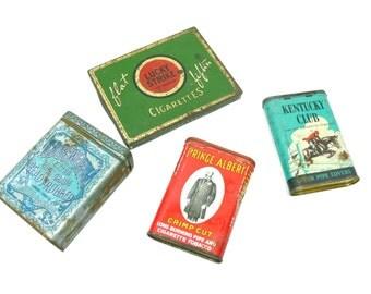 Vintage Tobacco Tins - Set of 4 - Lucky Strike Prince Albert Kentucky Club Edgeworth
