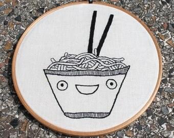 "Happy noodles embroidery hoop 8"" / 20.5cm"