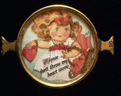 Vintage Handcrafted Don't Throw my heart away Valentine Girl Bracelet Piece