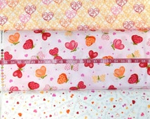Quilting Treasures. Love Bugs. Scrolled Hearts, Light Pink Valentines Butterflies, White Hearts/Words (bottom), Choose your cut and print
