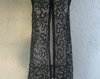 Black Lace and Ribbon Top - Applique LaceVest - Goth Madness - 60s Lace Tunic for Layering