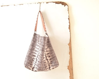 Leather Tote in Snakeskin Effect - Grey and White- Optional  Pink Strap Detail - Made to Order.