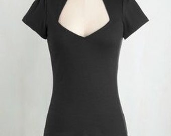 1950s Style Retro Square Sweetheart Top... Black or Red ... Pinup, VLV, Car Show, Rockabilly