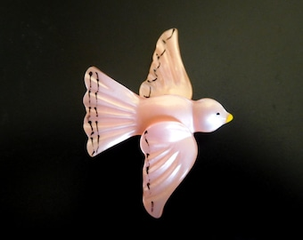Antique Celluloid Bird Brooch Pink Luster 30s Flying Dove Art Nouveau Fresh Lovely party Mom