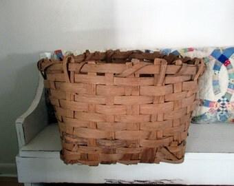 Split Oak Cotton Picking Gathering Basket Primitive Farmhouse Chic
