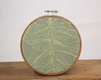 Leaf vein Embroidery Hoop art  Detail Close up fall foliage Nature wall hanging contemporary wall textile art Home decor Brown Beige