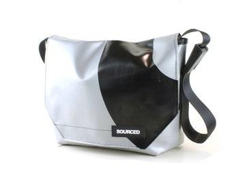 Messenger Bag made from Upcycled Truck Tarp, Water resistant Laptop Bag, Courier Bag, Satchel, Shoulder Bag (N11)