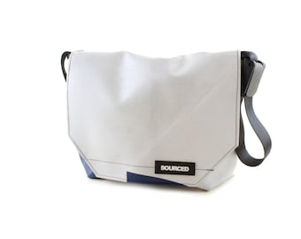 Messenger Bag made from Upcycled Truck Tarp, Laptop Bag, Courier Bag, Eco Friendly and Handmade (K05)