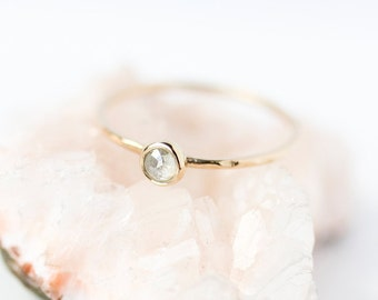 Rose cut silver grey diamond and 14k gold fine stacking ring, rustic, modern, organic, april birthstone, coloured diamond