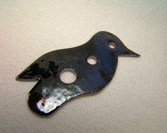 Raven Totem DIZ in Hammered Copper and Enamels 3 Inches Tall...