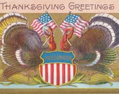 Thanksgiving Proclamation- 1900s Antique Postcard- American Flag- Tom Turkeys- Holiday Art Card- Thanksgiving Decor- Paper Ephemera- Used