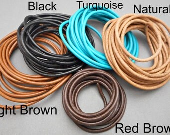 Leather Cord - 3mm - Colored Leather - Jewelry Supplies - Jewelry Making - Necklace Supplies - Leather Necklace - Black Leather - Brown