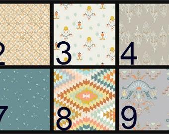 Crib Blanket, Crib Bedding, Crib Quilt, Baby Bedding, Block Baby Quilt, Square Baby Quilt, aztec, woodland, peach, gray, blue