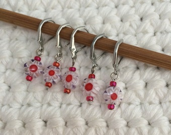 Removable Stitch Markers Floral - 5 Red and Green Millefiori Stitch Markers for Crochet and Knitting
