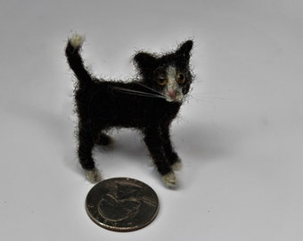Needle felted cat.  tiny doll house size tuxedo kitten