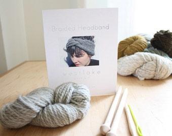 Braided Headband Knitting Kit by Westlake, includes pure wool, birch knitting needles, pattern, darning needle