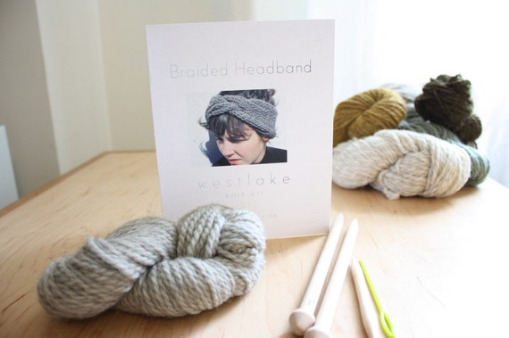 Braided Headband Knitting Kit by Westlake, includes pure wool, birch knitting needles, pattern, darning needle