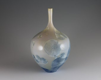 Cream and Light Blue Crystalline Glazed Bottle
