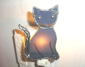 LT Stained glass gray Cat night light lamp made with dark grey streaked opal glass