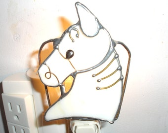 LT Stained glass Horse Head night light lamp bone on clear lightly textured background