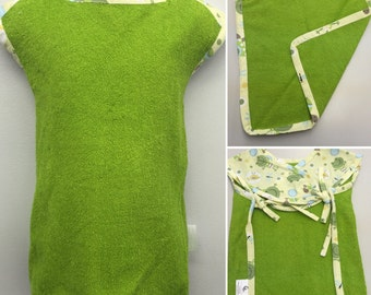 Baby Apron Bib w/Washcloth Set_ Green Frogs