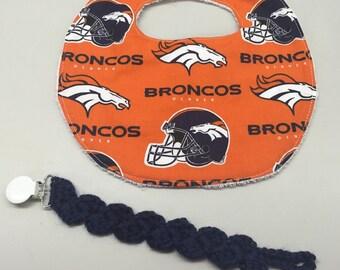 Denver Broncos Newborn Baby Bib/Pacifier Holder Set
