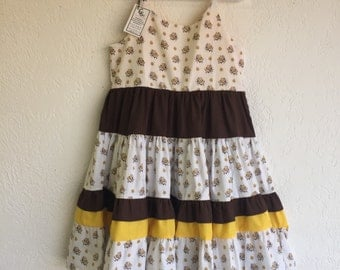 6 Years Girl Dress_Yellow/Brown Floral