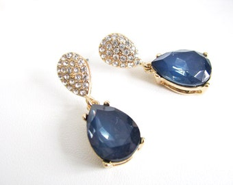 Gold toned Montana BlueRhinestone Earring Drops Bridal Wedding Jewelry or Bridesmaids Gift Pageant Jewelry