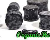 """Snowflake Obsidian Double Flare Plugs 8g-1"""" (Sold as Pair) Handmade Jewelry (8g, 6g, 4g, 2g, 0g, 00g, 7/16"""", 1/2"""", 9/16"""", 5/8"""",3/4"""",7/8"""",1"""")"""