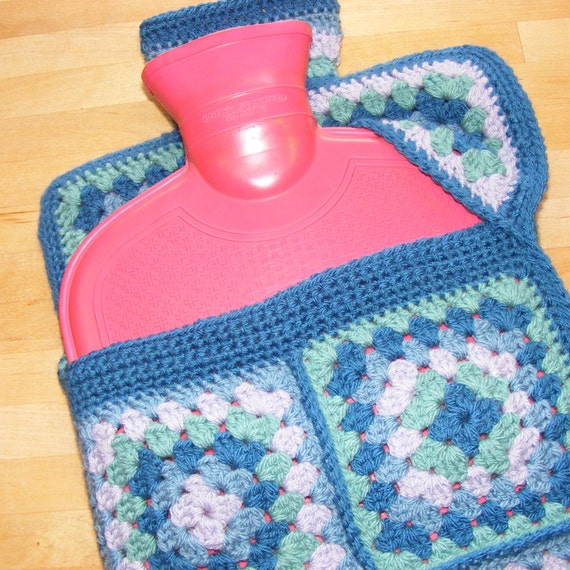 Crochet pattern - hot water bottle cover using granny squares with a ...