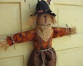 Primitive Hanging Scarecrow Doll - Ready 2 Ship - Fabric Door Hanger - Fall Door Greeter - Scarecrow Wall Hanger - Country Primitive Decor