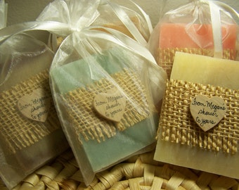 bridal shower favors, assorted colors, with sheer bags, medium size 3 oz. bars. Set of 45 favors.