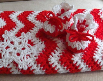 Baby Blanket Candy Cane Christmas Booties