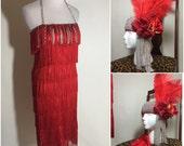 Sale Halloween Costume Scarlet Red Fringe Rhinestone Flapper Dress, Headpiece and Gloves