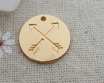 18k gold plated friendship crossed arrow circle charms 40 pcs-T1072