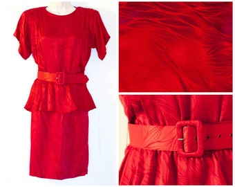 Vintage 1980s red silk two piece Argenti dress, textured belted peplum with pencil skirt