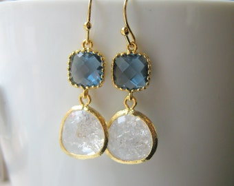 Navy Blue & Clear Bridesmaid Earrings / Glass Dangle / Drop Earrings / Wedding / Bridal Party / 14K Gold Filled Wire / Dangle
