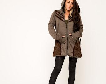 Fairy Coat-Faux Fur Coat- Pixie Jacket- Steampunk- Festival Gear- Burning Man